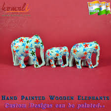 wood carving hand painted elephant figurines decor souvenirs buy