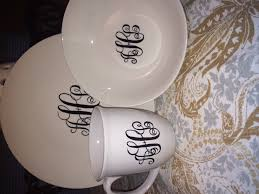 monogrammed dishes sharpie monogrammed dishes i made from the dollar store 3