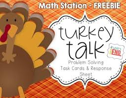 turkey talk math station activity problem solving thanksgiving