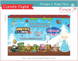 convite digital trash pack u0026 frozen firula festas elo7