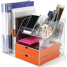 clear acrylic desk organizer amazon com premium quality clear acrylic desktop organizer keeps