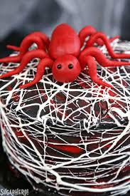 red velvet marshmallow spiderweb cake sugarhero