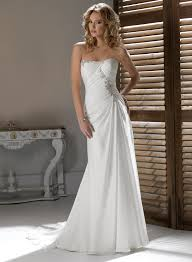 chiffon strapless wedding dresses with gorgeous dipped neckline