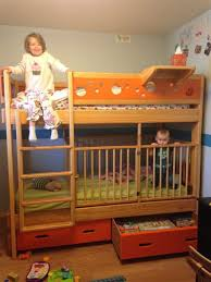 Free Twin Over Double Bunk Bed Plans by Twin Over Twin With Crib So Cool Moving Back Home Pinterest