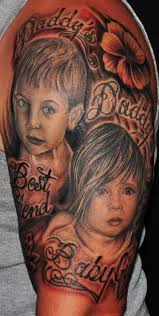 grey ink family portrait on half sleeve