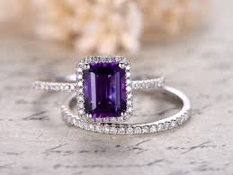 Amethyst Wedding Rings by Natural 6x8mm Emerald Cut Amethyst Engagement Ring Diamond Wedding