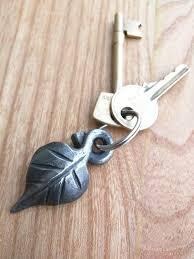 leaf keyring or keychain handmade ironwork by tom fell