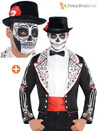 Halloween Costumes Mexican Mens Dead Skeleton Tailcoat Halloween Fancy Dress