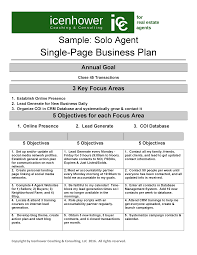 the one page real estate business plan in real estate business