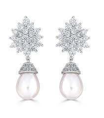 tear drop earrings cz cluster teardrop pearl earrings bridal jewelry