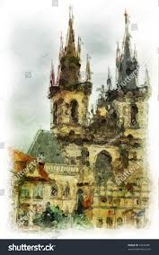 old prague architectural detail made artistic stock illustration