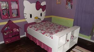 Unique Hello Kitty Kid Girls Bed With Painted Wall Headboard And - Hello kitty bunk beds