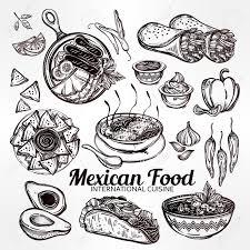food vector mexican hand drawn food set menu international latin food vector