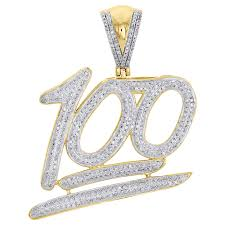 real diamond necklace images 10k yellow gold real diamond 100 emoji logo pendant 1 75 quot mens jpg