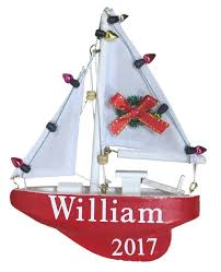 personalized sailboat ornament with name year 141130