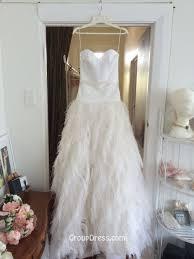 full feather a line skirt strapless satin beautiful wedding dress