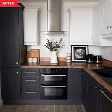 ikea black base kitchen cabinets before and after a dim orange kitchen gets a sophisticated