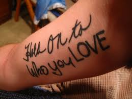 each word in the tattoo is a different family members handwriting