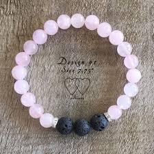bracelet design beads images Bracelet 2 hearts design 1 rose quartz lava beads and rhinestones jpg