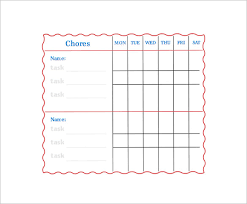 family chore chart template u2013 13 free sample example format