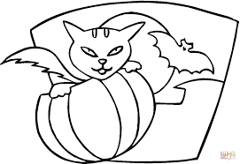 pumpkin cat and bat coloring page free printable coloring pages