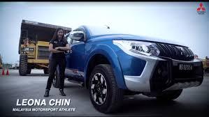mitsubishi trucks 2016 watch leona chin pull a 31 tonne mega truck with her mitsubishi
