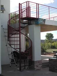 this standard spiral stair with expanded metal treads and vertical