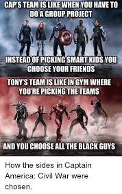 Team Black Guys Meme - caps team is like when you have to do a group project