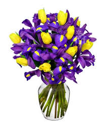 Vase With Irises Sunny Tulip And Iris Bouquet At From You Flowers