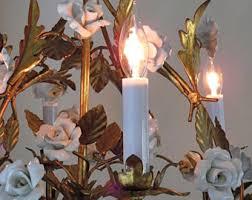 porcelain chandelier roses porcelain chandelier etsy