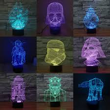 7 color change 3d illusion star wars touch switch table lamp led