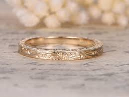 engraved wedding rings 14k gold carving wedding band nouveau leaf engraving