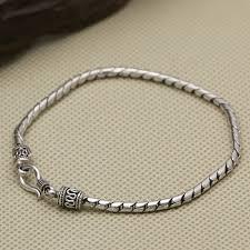 silver weave bracelet images Silver 925 weave cord 3mm thin chain bracelet men women elegant jpg