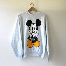 vintage mickey mouse sweatshirt gray dirty birdies vintage