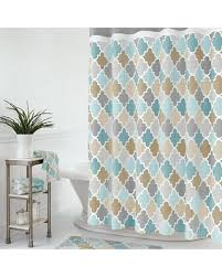 Chocolate Brown And Blue Curtains Savings On Julius Fabric Shower Curtain Blue