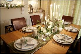 dining room dinner table decoration with centerpiece tablecloth