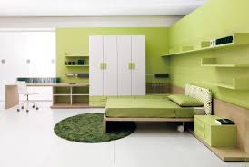 coolest green bedroom colors decor to give refreshing nuance exciting small teenager bedroom ideas with green painted wall also round fur rug plus white closet