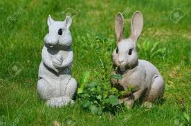 rabbit and squirrel garden ornaments stock photo picture and