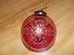 cranberry glass etched cut clear kugel type ornament 4