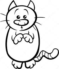 begging cat coloring page u2014 stock vector izakowski 73608883
