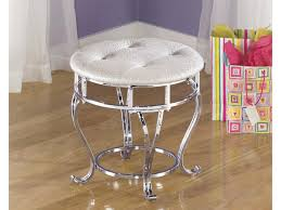 Upholstered Vanity Chairs For Bathroom by Furniture Scrolled Metal Vanity Stool With Wheels Plus Round Seat