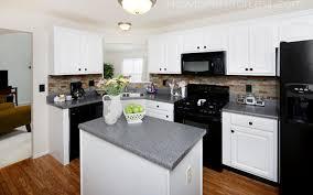 The Powder Room New Farm Kitchen White Galley Kitchen With Black Appliances Powder Room