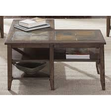 L Shaped Coffee Table Liberty Furniture Brookstone L Shaped Coffee Table In Weathered