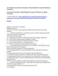 test bank for essentials of psychiatric mental health nursing 5th