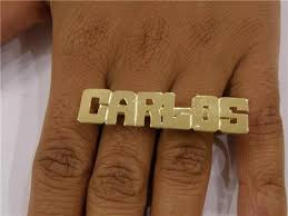 Name Ring Gold 14k Gold Overlay Personalized Two Finger Name Rings Block Gifts G3