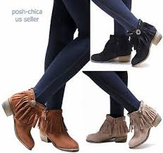 s boots with fringe aco fringe moccasin booties low heel ankle boots