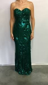 bariano dresses coco pattern sequin strapless gown emerald goldilocks boutique
