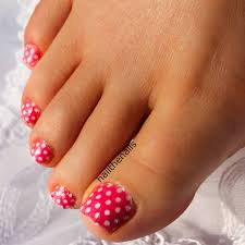 pink toe nail art with white dots design idea pink and white toe