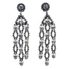 Gunmetal Chandelier Earrings 1960s Kenneth Jay Lane Kjl Crystal Chandelier Earrings At 1stdibs