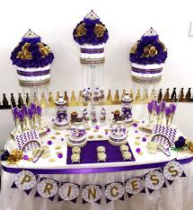 flower pail purple and gold baby shower table